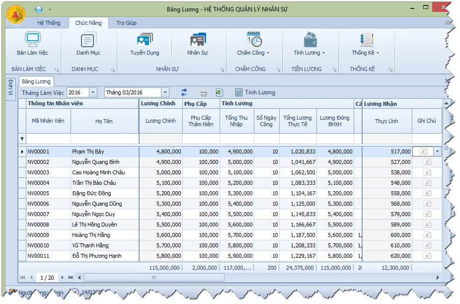 Phần mềm Nhân sự - Chấm công - Tiền lương (miễn phí)