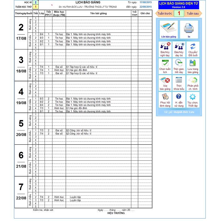 Phần mềm lên sổ báo giảng tự động Version 2.7